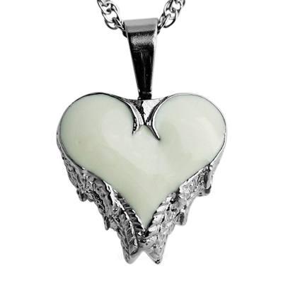 Angel Wings White Inlay Heart Keepsake Pendant
