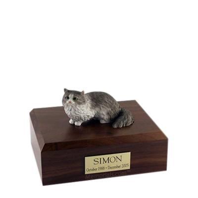 Angora Grey Small Cat Cremation Urn