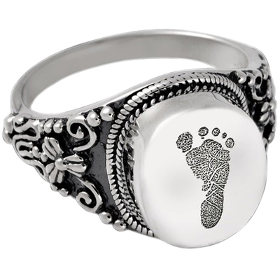 Antique Sterling Cremation Print Ring