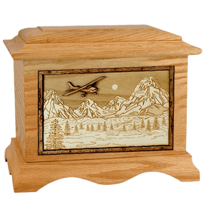 Aviation Oak Cremation Urn