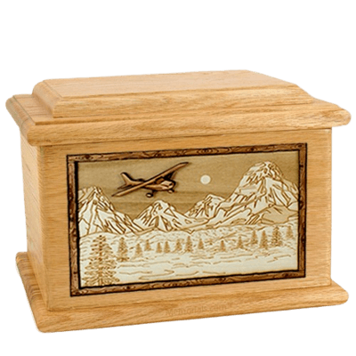 Aviation Oak Memory Chest Cremation Urn