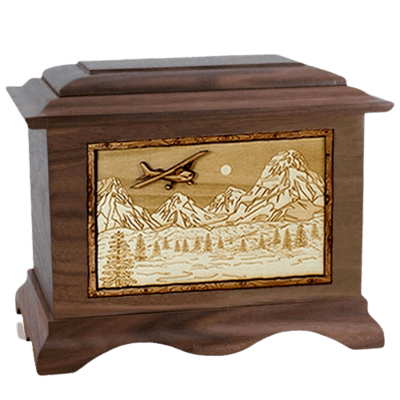Aviation Walnut Cremation Urn