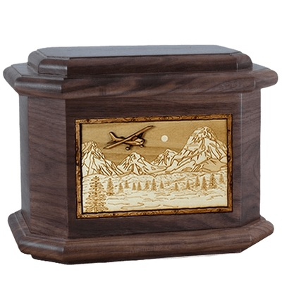 Aviation Walnut Octagon Cremation Urn