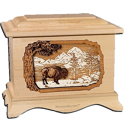 Bison Maple Cremation Urn For Two