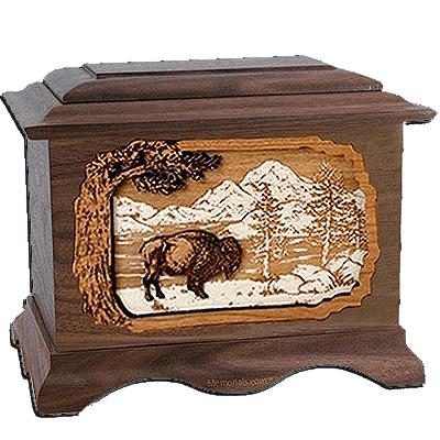 Bison Walnut Cremation Urn For Two