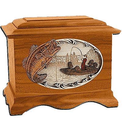Boat Fishing Mahogany Cremation Urn for Two