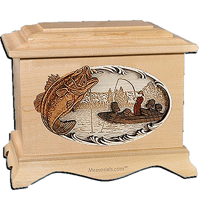 Boat Fishing Maple Cremation Urn for Two