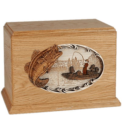 Boat Fishing Oak Companion Urn