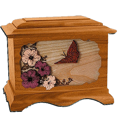 Butterfly Mahogany Cremation Urn For Two