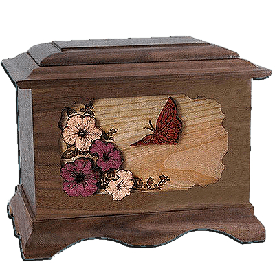 Butterfly Walnut Cremation Urn For Two