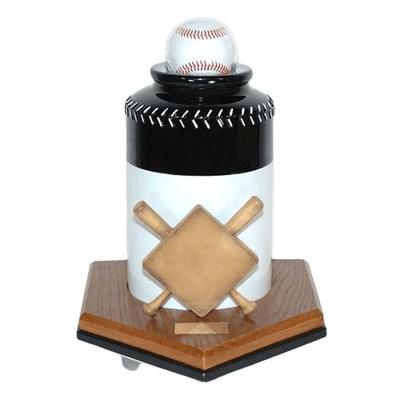 Baseball Black Cremation Urn