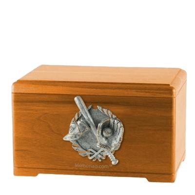 Baseball Tribute Oak Cremation Urn