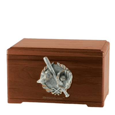 Baseball Tribute Walnut Cremation Urn