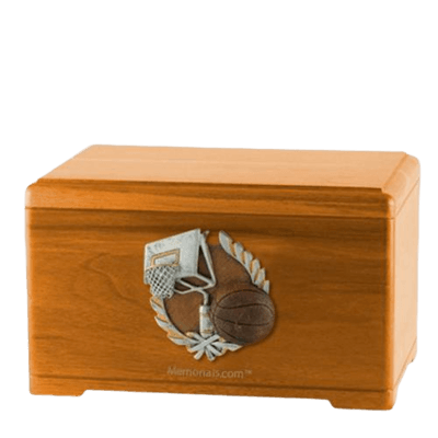 Basketball Fan Oak Cremation Urn
