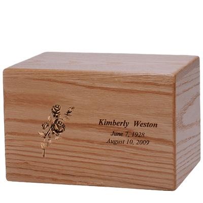 Big Rose Wood Cremation Urn