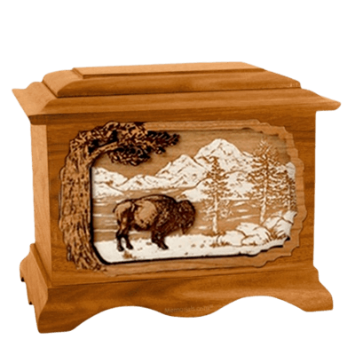Bison Mahogany Cremation Urn