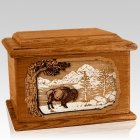 Bison Mahogany Memory Chest Cremation Urn