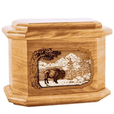 Bison Oak Octagon Cremation Urn