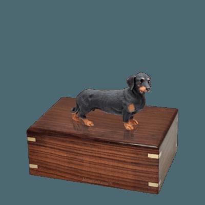 Black Dachshund Small Doggy Urn