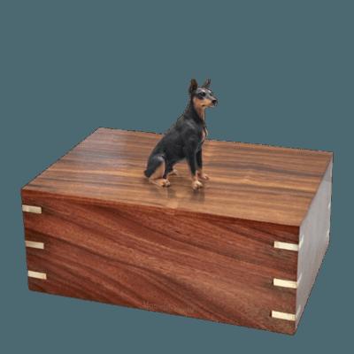 Black Doberman Large Doggy Urn