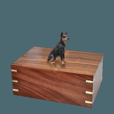 Black Doberman Medium Doggy Urn