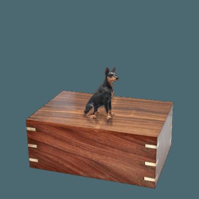 Black Doberman Small Doggy Urn