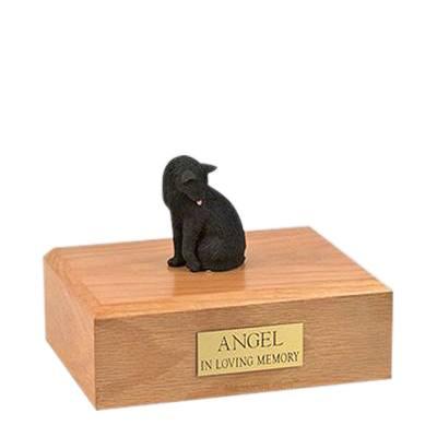 Black Grooming Medium Cat Cremation Urn