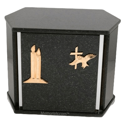 Black Hexagon Silver Urn For Two