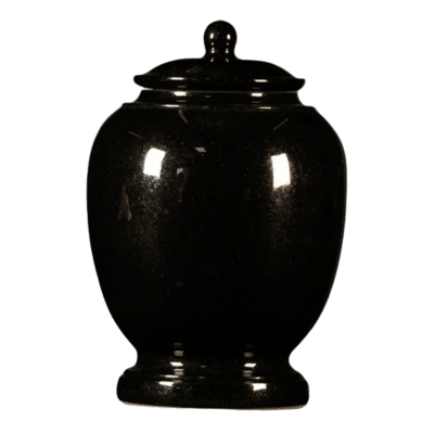 Black Satin Granite Cremation Urn