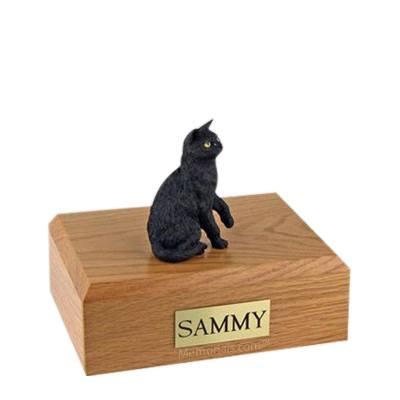 Black Sitting Medium Cat Cremation Urn