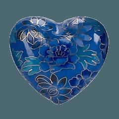 Blue Copper Heart Keepsake Urn