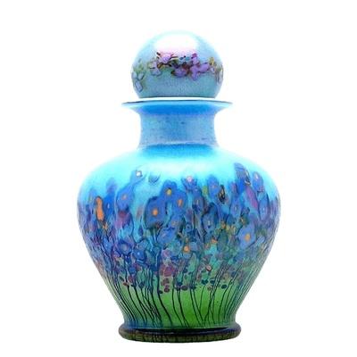 Blue Iris Glass Cremation Urn