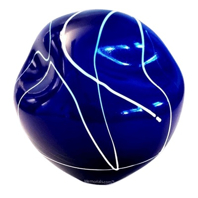 Blue Organic Glass Cremation Urn
