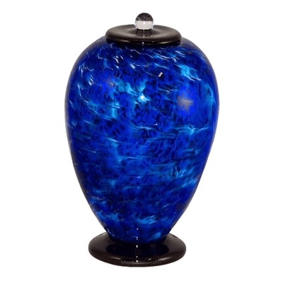 Blue Wave Glass Cremation Urn