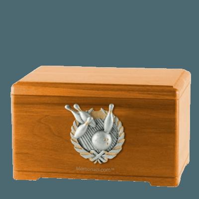 Bowling Fan Oak Cremation Urn