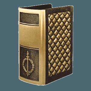 Quilted Book Bronze Cremation Urn