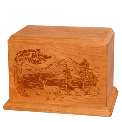 Buck Companion Mahogany Wood Urn