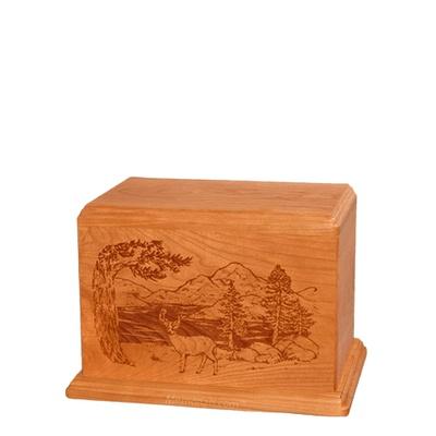 Buck Small Mahogany Wood Urn
