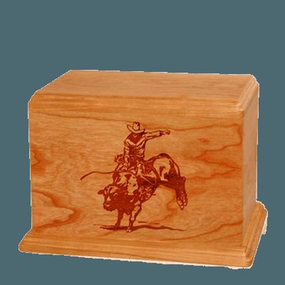 Bull Rider Individual Mahogany Wood Urn