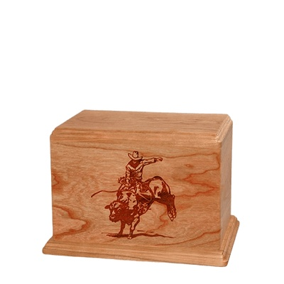 Bull Rider Small Cherry Wood Urn