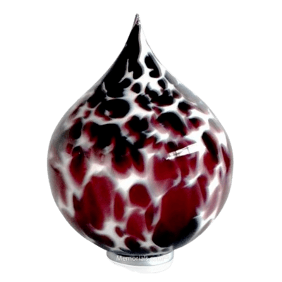 Burgundy Drop Glass Cremation Urn