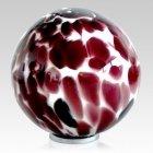 Burgundy Sphere Glass Cremation Urn