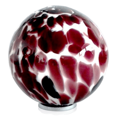 Burgundy Sphere Glass Cremation Urn
