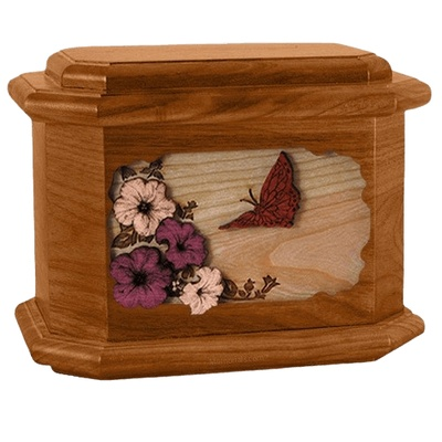 Butterfly Mahogany Octagon Cremation Urn