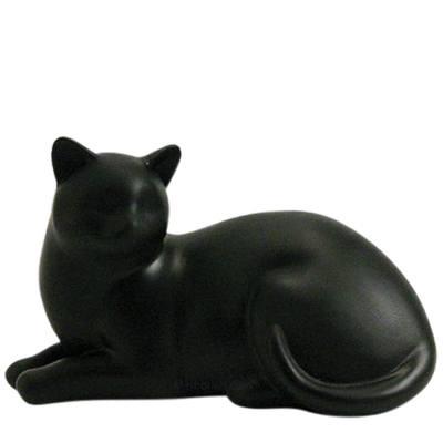 Black Cozy Cat Cremation Urn