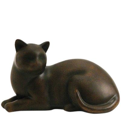 Tabby Cozy Cat Cremation Urn