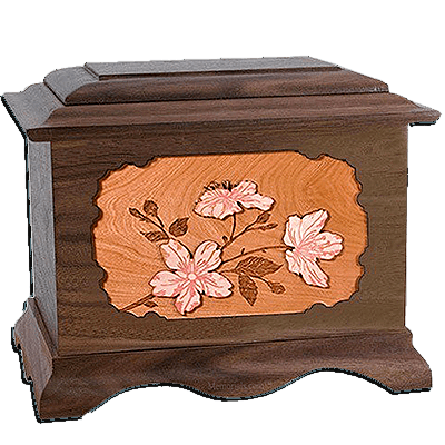 Cherry Blossom Walnut Cremation Urn For Two