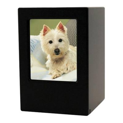 Black Pet Large Photo Wood Urn