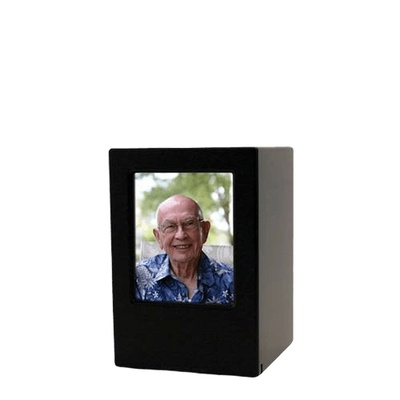 Black Eternity Keepsake Photo Wood Urn