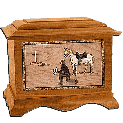 Cowboy Mahogany Cremation Urn for Two